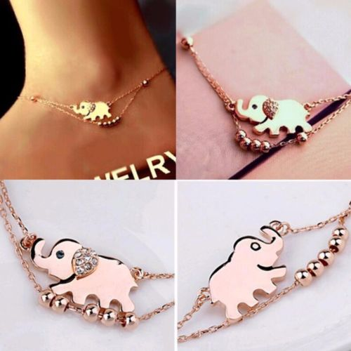 E21 Gold Tone Lucky Elephant Anklet or Bracelet Foot Jewellery