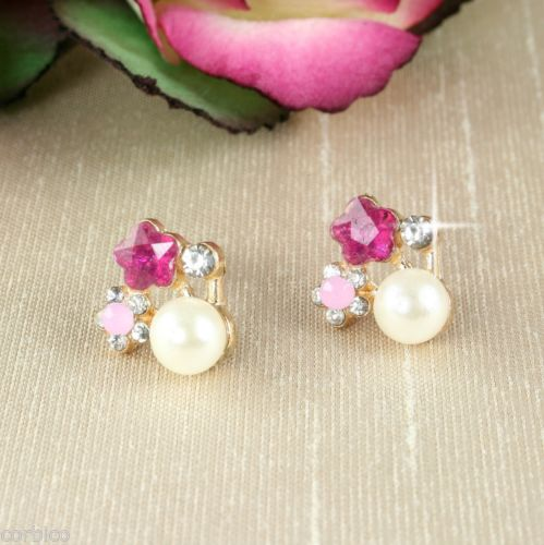E4 Bridal Prom Wedding Gold Plated Crystals Pink Star Pearl Stud Earrings