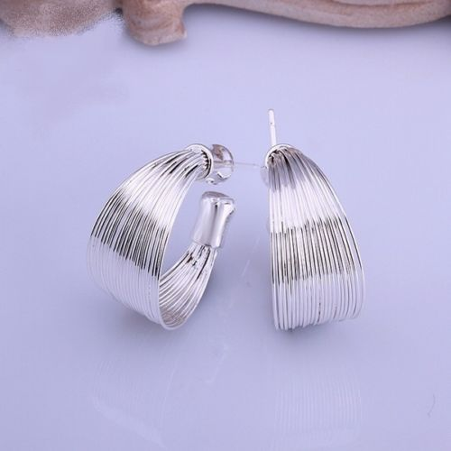 Silver Plated 2 cm Hoop Stud Earrings - Gift Pouch