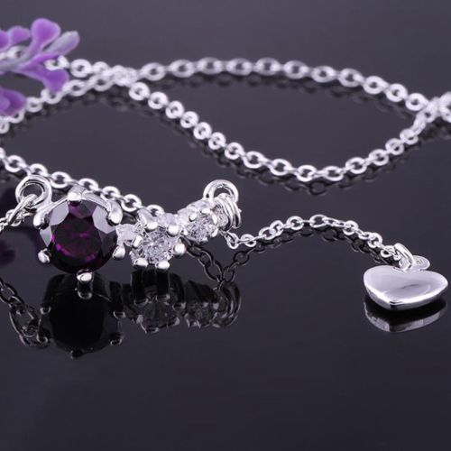 N5 Bridal Wedding Prom 925 Silver Plated Purple Crystal Heart Pendant Necklace