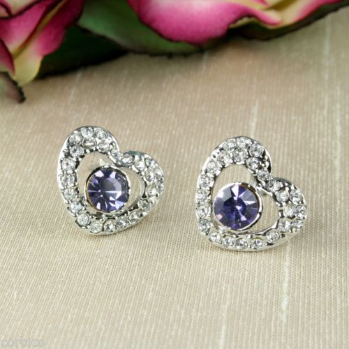 S2 Rhodium Plated Amethyst Purple Crystal Heart Necklace + Earrings Set