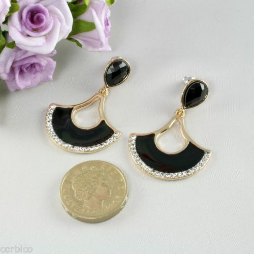 E7 Black Enamel Gold Plated Fan Dangle Stud Earrings with Clear Crystals