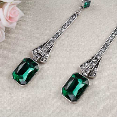 E15 Long Art Deco Gatsby 1920s Style Green Crystal Stud Dangle Earrings