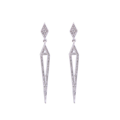 E15 Long Art Deco Gatsby 1920s Style Clear Crystal Spike Stud Dangle Earrings