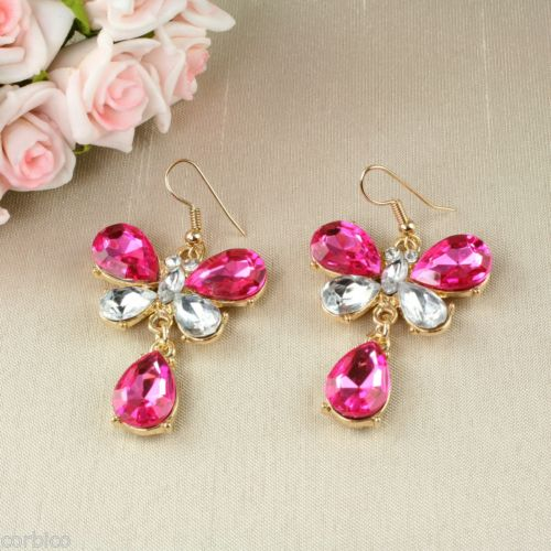 E7 Gold Plated Crystal Butterfly Dangle Hook Earrings