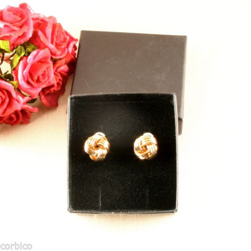 E6 18K Gold Plated Knot Design Stud Earrings UK Seller