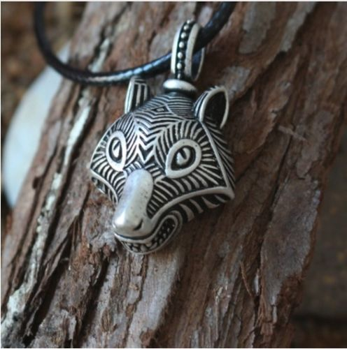 Mens Fenrir Wolf Head Viking Norse Medal & Faux Leather Cord Necklace