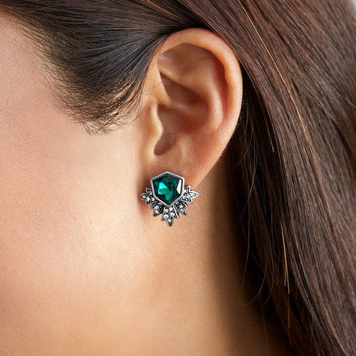 E26 Party Occasion Emerald Green Vintage Style Crystal Stud Earrings