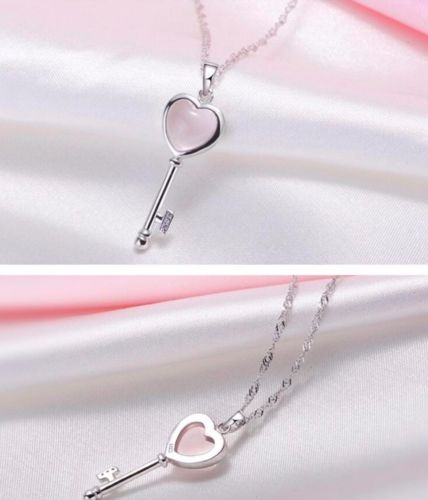 S3 925 Silver Plated Pink Rosequarz Heart Key Necklace Earrings Set