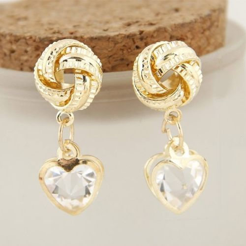 E14 Gold Plated Vintage Style Knot and Crystal Heart Dangle Earrings