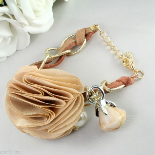 B1 Coffee and Gold Tone Faux Pearl Flower Charm Bracelet 24cm