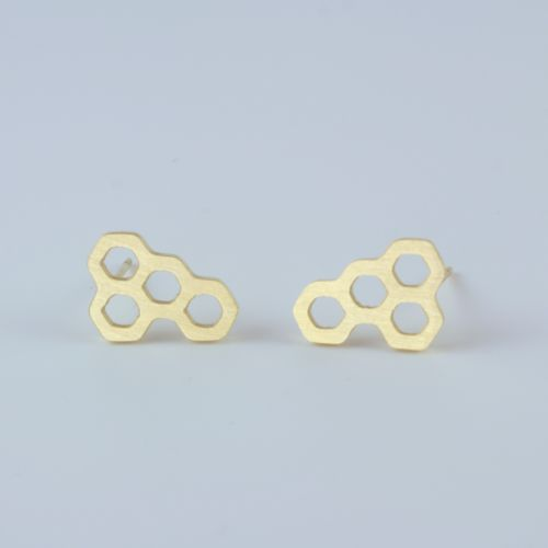 Dainty Collection Gold Plated Honeycomb Geometric Stud Earrings