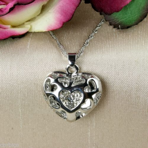 N4 18K White Gold Plated Heart Pendant Necklace with Crystals