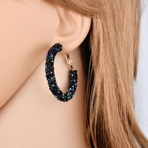 E11 Crystal Stardust 4.5 cm Hoop Creole Circle Party Earrings