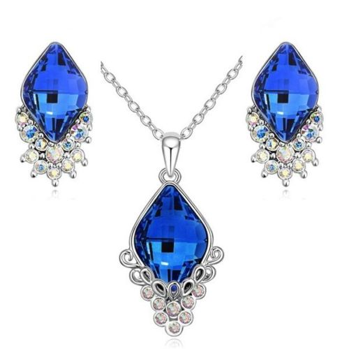 S3 Rhodium Plated Victoria Royal Blue Crystal Necklace Earrings Set