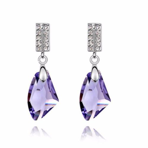 E1 Bridal Wedding Party Large Crystal Dangle Stud Earrings