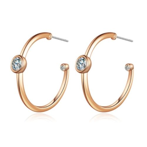 E11 Gold or Silver Plated Solitaire Zircon Crystal Hoop Earrings
