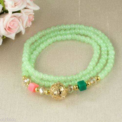 B4 Faux Crystal Prayer Meditation Charm Bead Wrap Bracelet in Mint Green