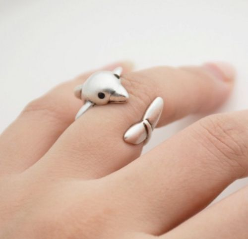 Antique Silver Plated Cute Dolphin Ring Size N - Adjustable