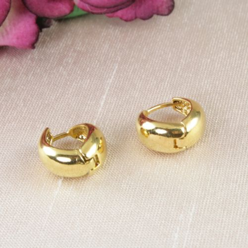 E11 Small 18K Gold Plated Simple Sleeper Huggie Hoop Earrings