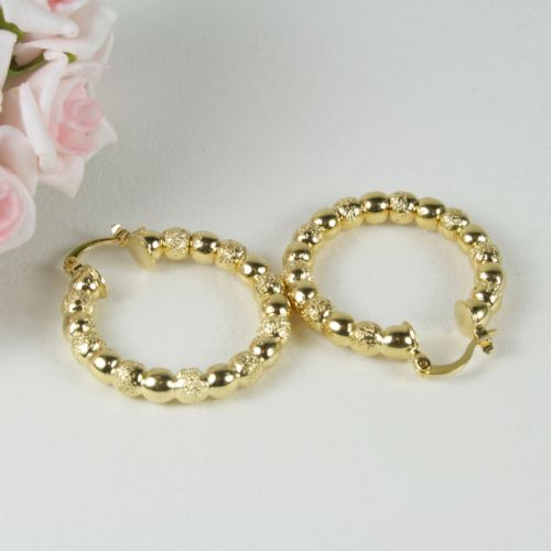 E17 18K Yellow Gold Filled 3.5 cm Hoop Creole Bead Design Earrings - Gift Pouch