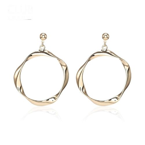 E11 Gold Plated Irregular Design Hoop Dangle Stud Earrings in Gift Pouch