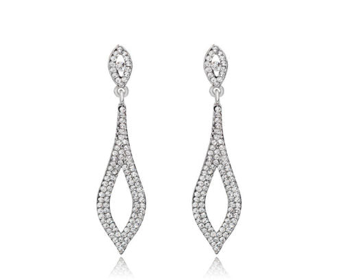 E15 Long Art Deco Gatsby 1920s Style Clear Crystal Glamour Dangle Earrings