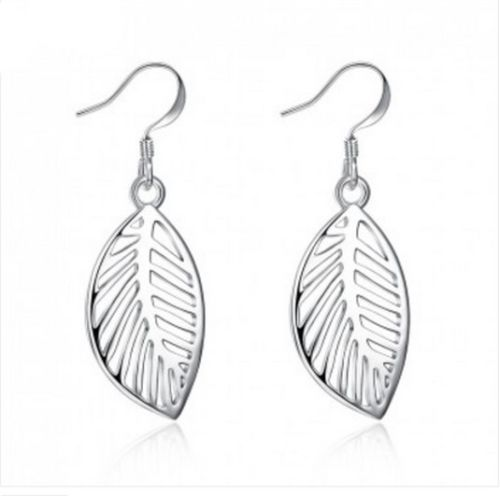E12 925 Silver Plated Feather Leaf Dangle Hook Earrings