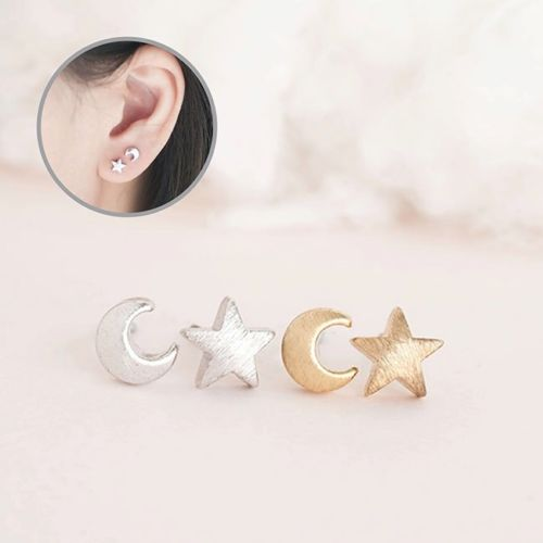 Dainty Star and Moon Stud Earrings with Gift Pouch