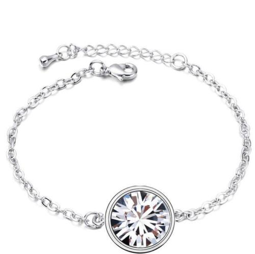 Silver Rhodium Plated Link Bracelet with Round Austrian Crystal