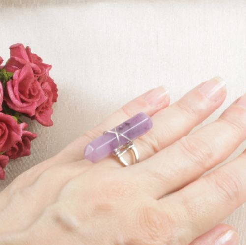 Silver Plated Faux Amethyst Ring Size N - Adjustable