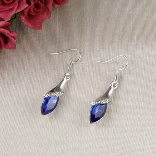 E12 Silver Rhodium Plated Dangle Hook Earrings with Blue Austrian Crystals