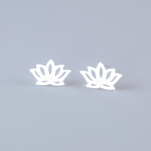 Dainty Collection Silver Plated Lotus Flower Stud Earrings