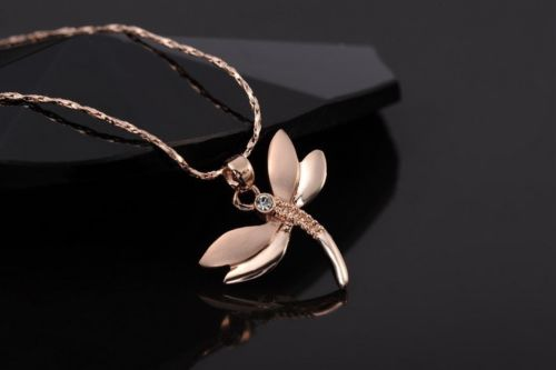 N4 Rose Gold Plated Crystal Dragonfly Pendant Necklace