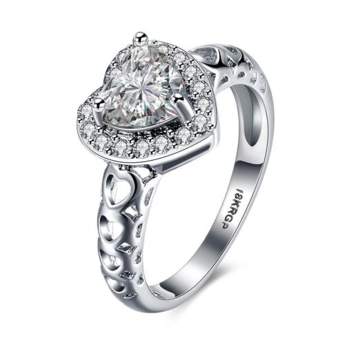 18K White Gold Plated Emily Heart Dress Ring with Cubic Zirconia Crystals