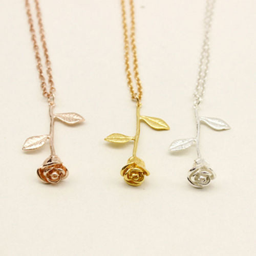 N4 Romantic Rose Flower Pendant Necklace in 3 Colour Choices