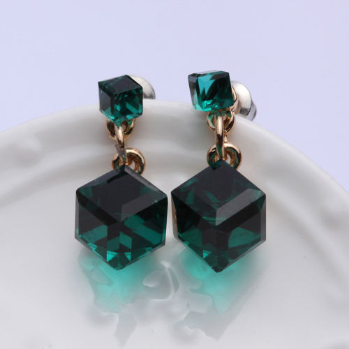 E19 Gold Plated Green Crystal Cube Stud Earrings