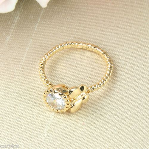 18K Gold Plated Butterfly Ring with Clear Cubic Zirconia Crystals
