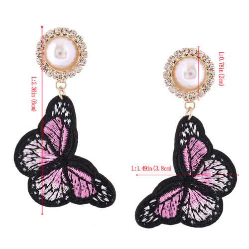 Embroidered Butterfly Pearl and Crystal Dangle Earrings