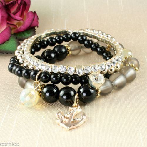 B4 Multi Layer Black Bead and Crystals Stretch Bracelets