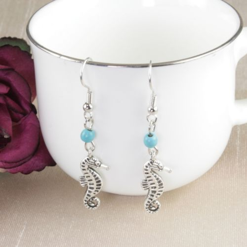 E2 Silver and Turquoise Seahorse Hook Earrings