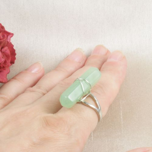 Silver Plated Faux Green Crystal Ring Size N - Adjustable