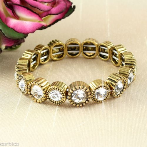B1 Antique Bronze Style with Crystals Stretch Bracelet - Gift pouch