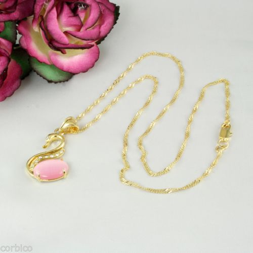 N1 18K Gold Filled Crystal Pink Catseye Stone Swan Necklace Pendant