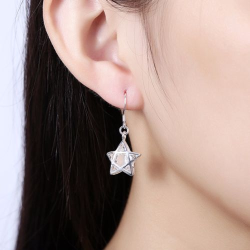 E8 925 Silver Plated Star Dangle Hook Earrings with Crystal