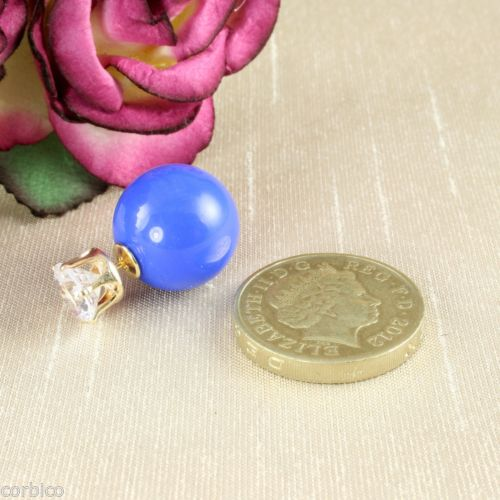 Two Part Reversible Royal Blue Pearl and CZ Zirconia Crystal Plug Stud Earrings