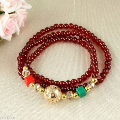 B4 Faux Crystal Prayer Meditation Charm Bead Wrap Bracelet in Dark Red