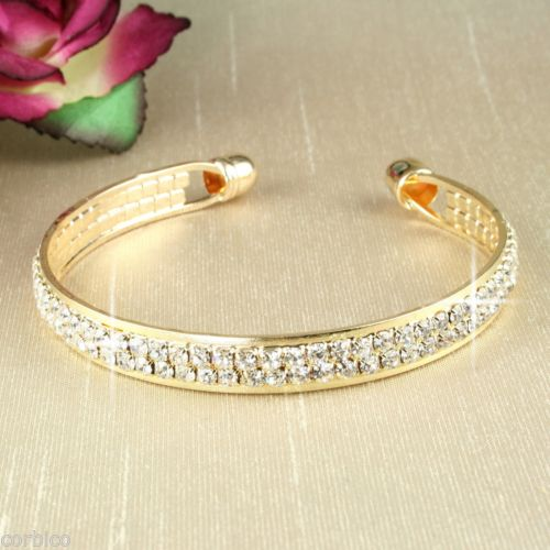 B1 Glamour Gold Plated Crystal Bangle Bracelet - Gift pouch