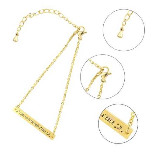 B2 Dainty ' I Love You To The Moon And Back ' Chain Bracelet in Gift Pouch