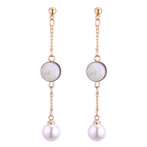 E5 Long Gold Plated Mother of Pearl Chain Dangle Stud Earrings